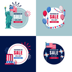 4 of July, USA Independence Day sale banners set. Vector holiday circle label, sticker backgrounds