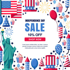 USA Independence Day sale vector banner template. Holiday white frame background. 4 of July celebration concept.