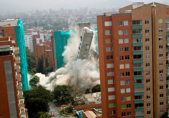 The implosion of Bonavento building is seen in Medellin, Colombia
