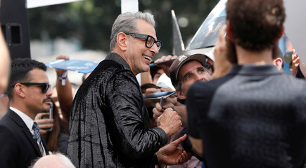 Actor Goldblum signs autographs before unveiling his star on the Hollywood Walk of Fame in Los Angeles