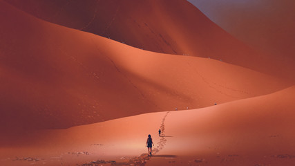 Foto op Aluminium Grandfailure hikers climb up to the sand dune in the red desert, digital art style, illustration painting