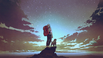 young hiker with backpack and a dog standing on the rock and looking at stars in the night sky, digital art style, illustration painting Wall mural