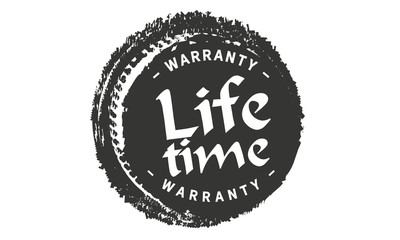lifetime black warranty icon stamp