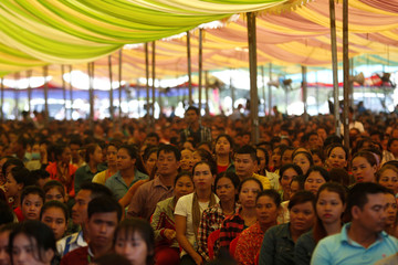 Garment workers attend a rally with Cambodia's Prime Minister Hun Sen in Kandal province
