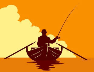 Fishing in a boat at sunset