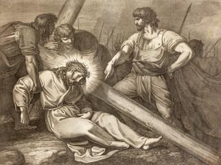 REGGIO EMILIA, ITALY - APRIL 12, 2018: The lithography of Fall of Jesus under the cross (cross way) in church Chiesa di Santo Stefano by Benedetto Eredi (1750 - 1812).
