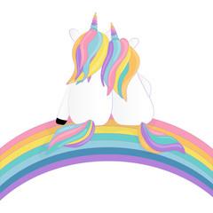 two enamored unicorns and rainbow