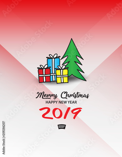 gift boxes with christmas tree vector illustration merry christmas and happy new year 2019