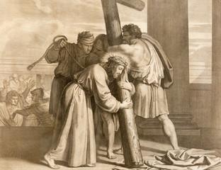 REGGIO EMILIA, ITALY - APRIL 12, 2018: The lithography Jesus carries His cross (cross way) in church Chiesa di Santo Stefano by Benedetto Eredi (1750 - 1812).