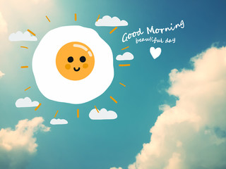 Fired egg sun cartoon on blue sky background