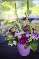 Floral Event Centerpiece: Purple, Fuchsia, Magenta, and Green Flower Arrangement