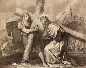 REGGIO EMILIA, ITALY - APRIL 12, 2018: The lithography Jesus is helped by Simon of Cyrene (cross way) in church Chiesa di Santo Stefano by Benedetto Eredi (1750 - 1812).