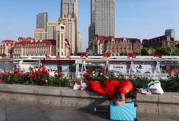 European-style buildings line the bank of the Hai River in central Tianjin
