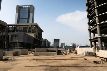 The construction site surrounding the Goldin Finance 117 skyscraper lies dormant in Tianjin's high-tech zone