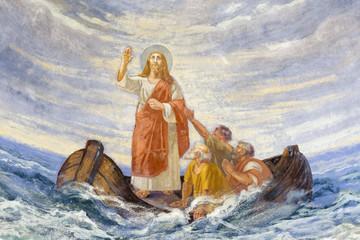 REGGIO EMILIA, ITALY - APRIL 12, 2018: The modern fresco Jesus Calms the Storm in church Chiesa di San Agostino from 20. cent.