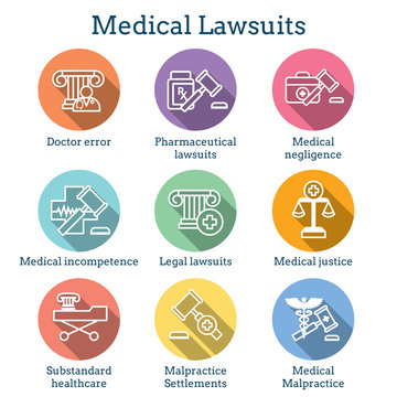 Medical Lawsuits with Pharmaceutical, negligence, & medical malpractice icon set