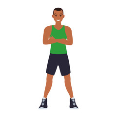 Fitness man cartoon vector illustration graphic design