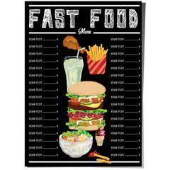 menu fastfood template design graphic set