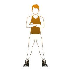 Fitness man cartoon vector illustration graphic design