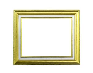 Golden wooden frame isolated