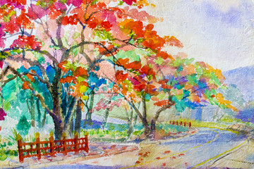 Painting original landscape red, orange color of peacock flowers tree