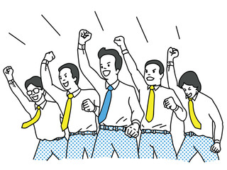 Businessman cheering and riasing fist in the air