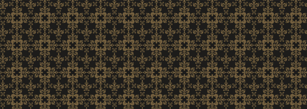 Dark decorative background. Royal style. Wallpaper, seamless pattern. Vector template for graphic design, advertising and web design