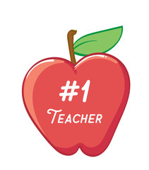 Number One Teacher on an Apple