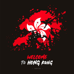 Welcome to Hong Kong. Flag and map of the country