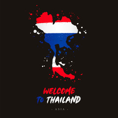 Welcome to Thailand. Flag and map of the country