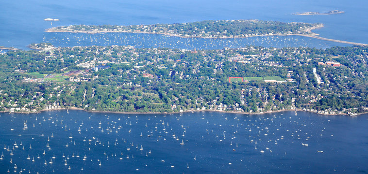 New England Coastline at Marblehead - Aerial View