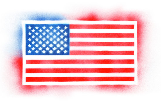 Spray painted American flag background