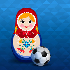Russian sport event poster of doll and soccer ball