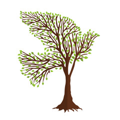 Dove bird shape in tree branches for nature help