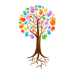 Wall Mural - Color hand tree for diverse community help