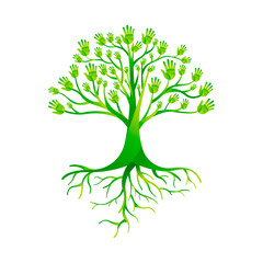 Green hand tree for nature help group