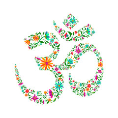 Om symbol made of flowers for yoga