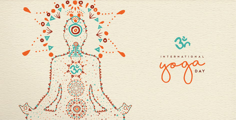Yoga day web banner of lotus pose meditation