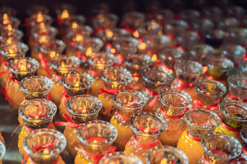 Candles in the Buddhist temple of Kek Lok Si in Malaysia