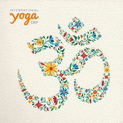 Yoga day card of om india spiritual symbol