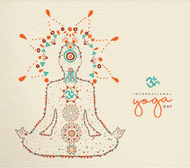 Yoga day card of lotus pose meditation