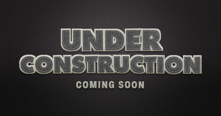 Under construction. Coming soon. Black & White. Textile Texture.