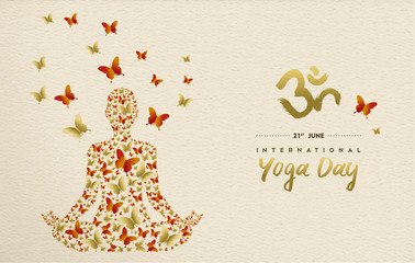 Yoga day card of lotus pose meditation exercise