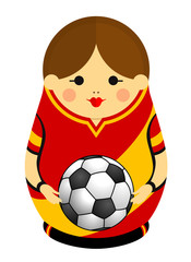 Drawing of a Matryoshka with colors of the flag of Spain holding a soccer ball in her hands. Russian nesting doll in red and yellow. Vector image