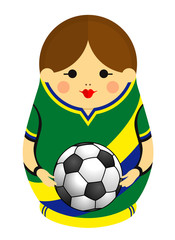 Drawing of a Matryoshka with colors of the flag of Brazil holding a soccer ball in her hands. Russian nesting doll in green, blue and yellow. Vector image
