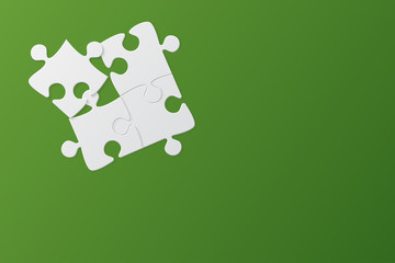 Green Background Four Puzzle. Jigsaw Puzzle.
