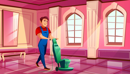 Ballroom cleaning vector illustration of man polishing parquet tile floor in royal hall of medieval castle or museum. Flat cartoon pink ball room interior background with windows and benches