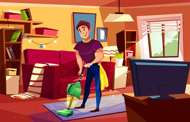 Man cleaning living room vector illustration of househusband or college boy with vacuum cleaner on carpet, Home service for modern or retro apartments interior with furniture, TV and sofa