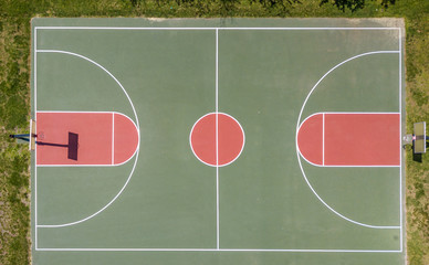 Aerial view of basketball field