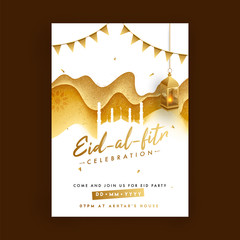 White paper mosque and hanging illuminated golden lantern, bunting flags on glitter texture, floral background. Eid-Al-Fitr celebration invitation card design.